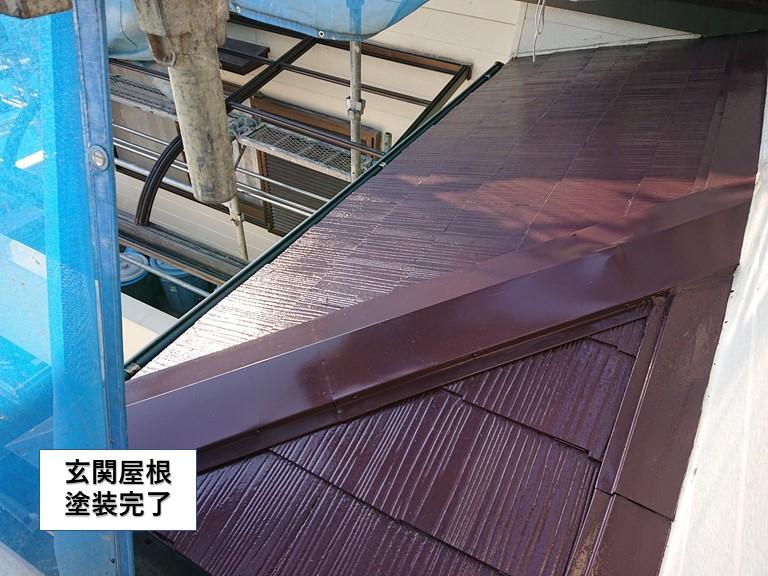 泉佐野市の玄関屋根塗装完了