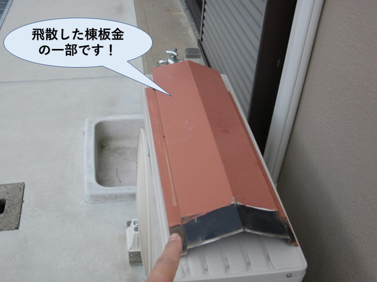 阪南市の飛散した棟板金の一部