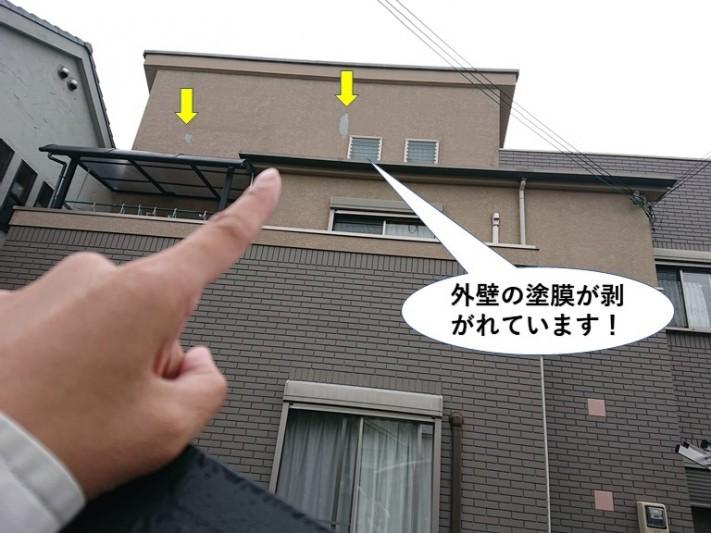 泉大津市の外壁の塗膜が剥がれています
