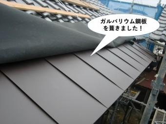 岸和田市でガルバリウム鋼板を葺きました