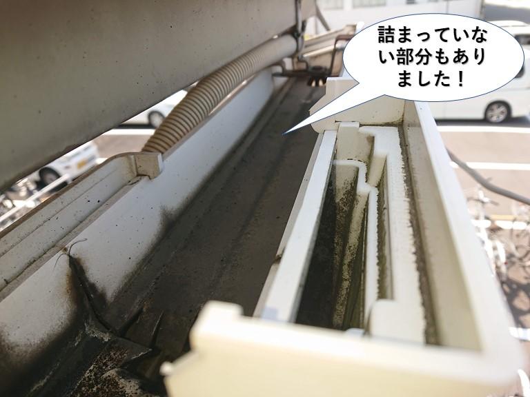 泉大津市の雨樋で詰まっていない部分もありました