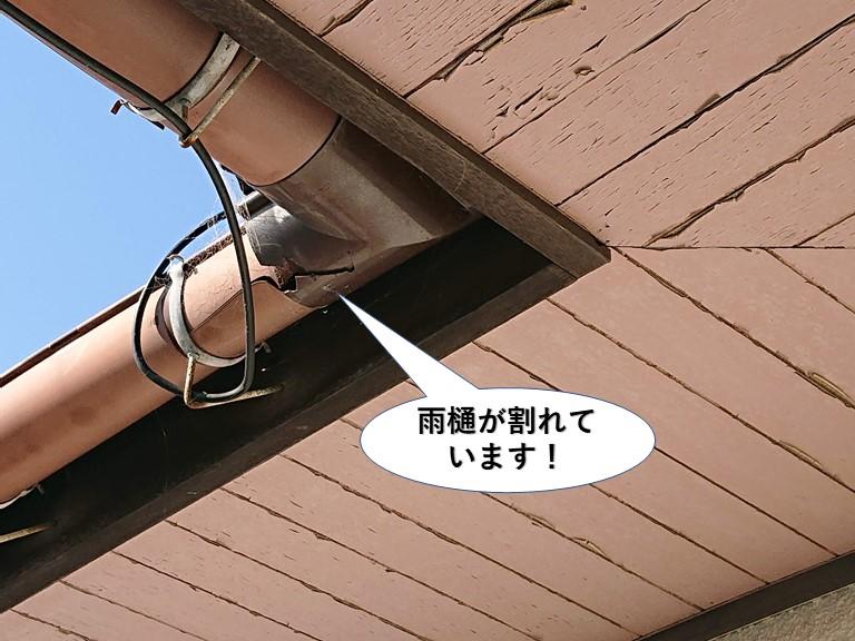 岸和田市の雨樋が割れています