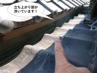 岸和田市の谷樋の立ち上がり部が浮いています