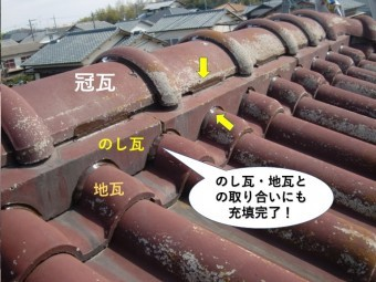 熊取町ののし瓦・地瓦の取り合いにもシーリング充填
