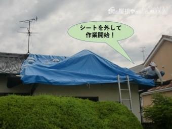 岸和田市の屋根にかけたシートを外して作業開始!