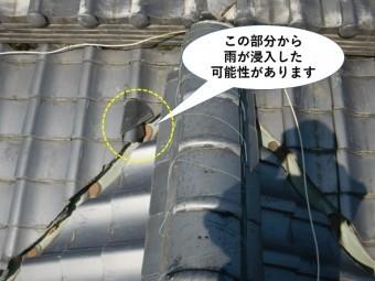 泉佐野市の玄関屋根の現況