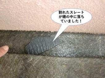 熊取町の割れたスレートが樋の中に落ちていました
