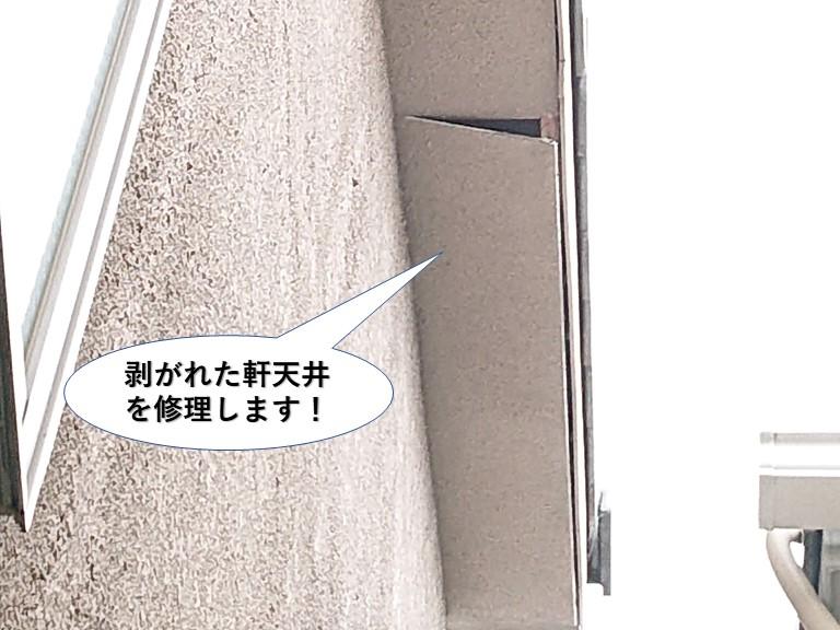 泉大津市の剥がれた軒天井を修理ます