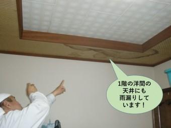 泉大津市の1階の洋間の天井にも雨漏りしました
