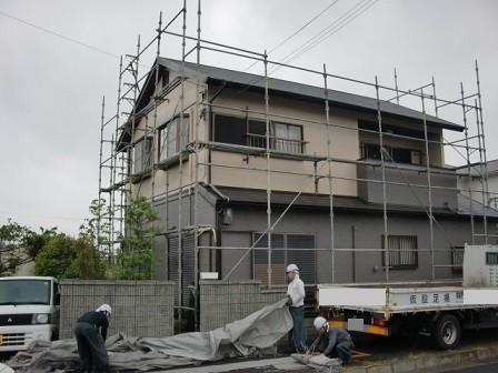 真上町の外壁塗装と屋根塗装で部分塗装と足場解体