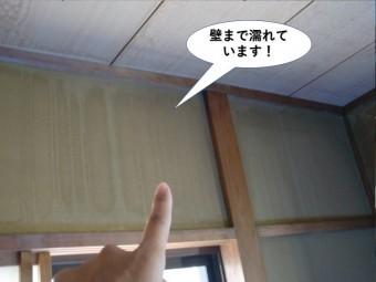 貝塚市の雨漏りで壁まで濡れています