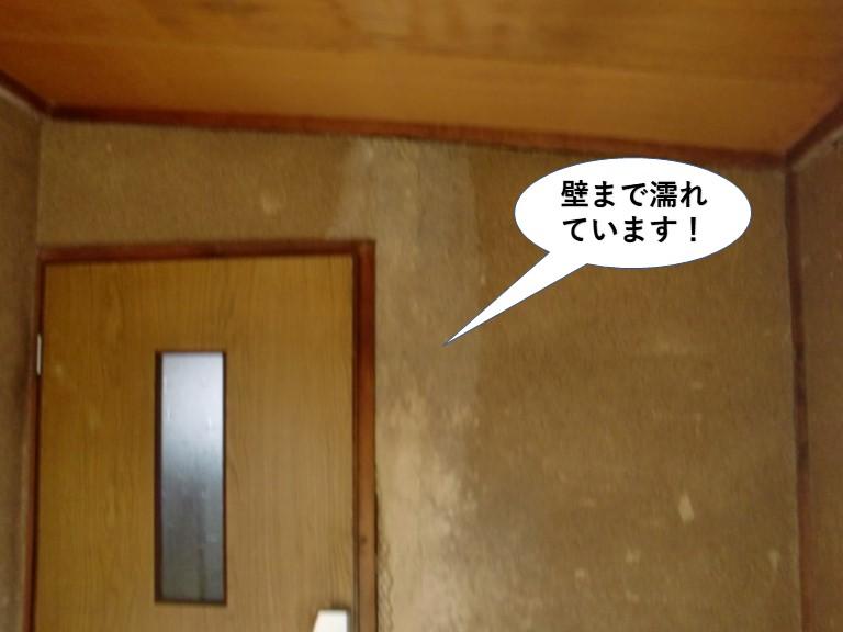 和泉市の玄関の壁まで濡れています