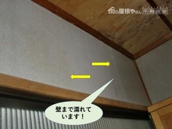 岸和田市の玄関の壁まで濡れています