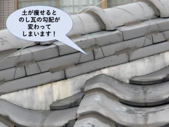 岸和田市ののし瓦の勾配が変わると水が廻ります