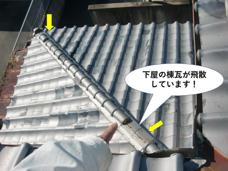 阪南市の下屋の棟瓦が飛散