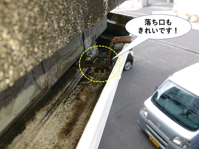 泉大津市の樋の落ち口もきれいです