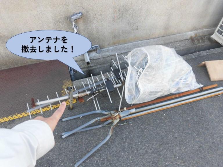 岸和田市の倉庫のアンテナを撤去しました