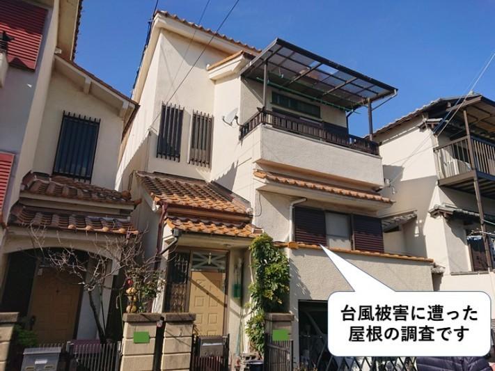 泉大津市の台風被害に遭った屋根の調査