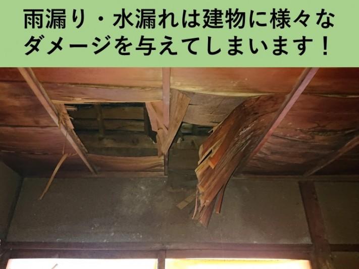 雨漏り・水漏れは建物に様々なダメージを与えてしまいます!