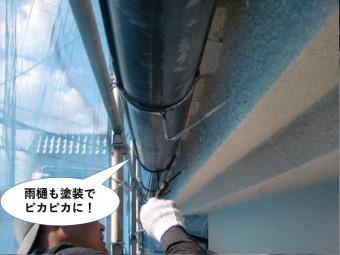 岸和田市の雨樋も塗装でピカピカに