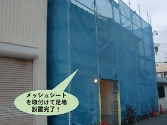 岸和田市でメッシュシートを取りつけて足場設置完了