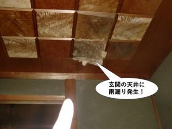 泉佐野市の玄関の天井に雨漏り発生