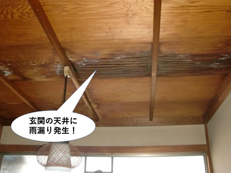 貝塚市の玄関の天井に雨漏り発生