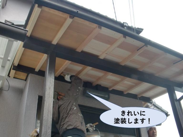 泉大津市の玄関ポーチの屋根天井板を塗装します