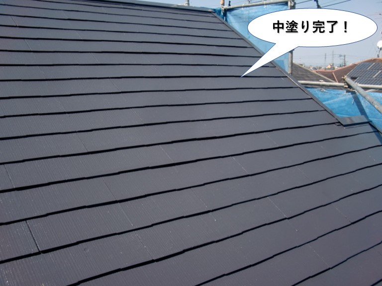 阪南市の屋根中塗り完了