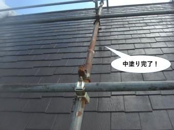 忠岡町の屋根中塗り完了