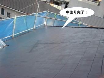 高石市の屋根の中塗り完了