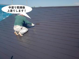 和泉市の屋根を中塗り乾燥後上塗りします