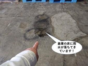 和泉市の倉庫の床に雨水が落ちてきています