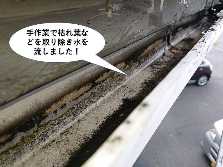 泉大津市の樋を手作業で枯れ葉などを取り除き水を流しました