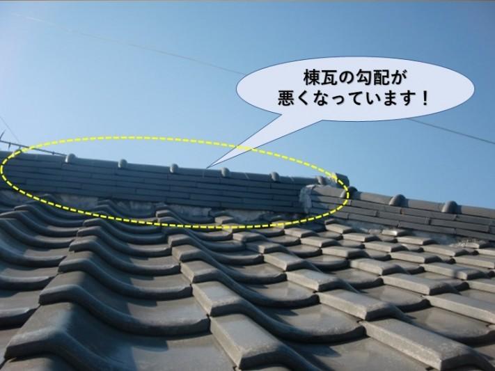 和泉市の棟瓦の勾配が悪くなっています!