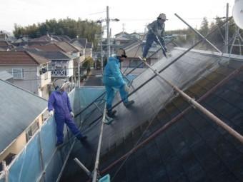 岸和田市下松町の屋根高圧洗浄