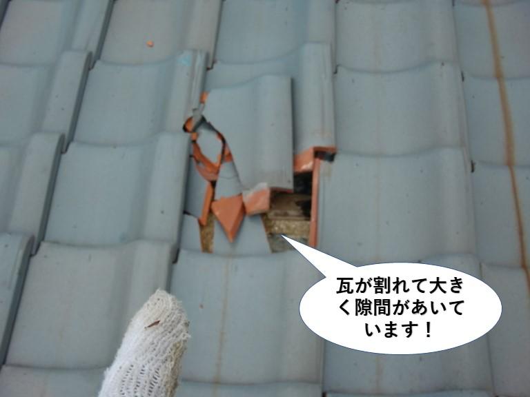 和泉市の屋根の瓦が割れて隙間があいています