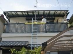 岸和田市箕土路町のベランダテラス屋根入替工事で雨漏り解消