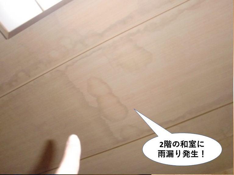 熊取町の2階の和室に雨漏り発生