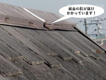 岸和田市の棟の板金の釘が抜けかかっています