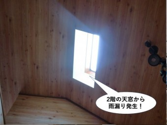 和泉市の2階の天窓から雨漏り発生