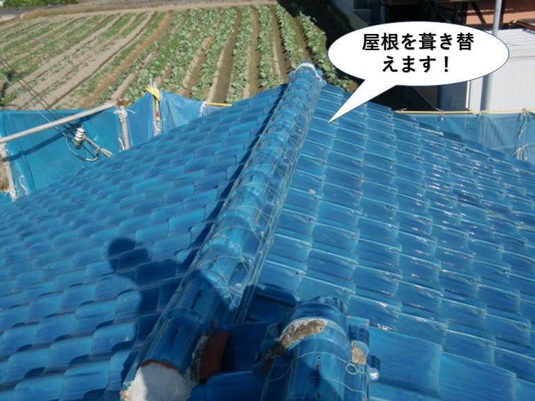 岸和田市で屋根を葺き替えます