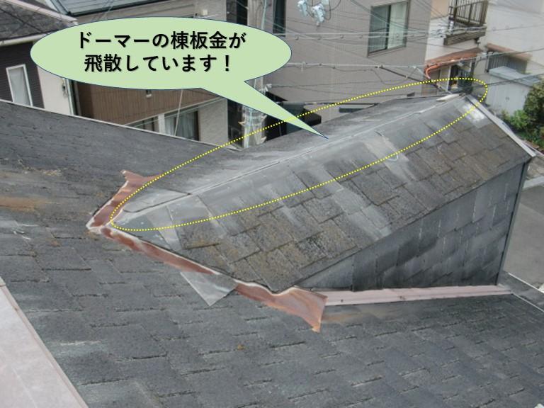 和泉市のドーマーの棟板金が飛散