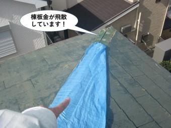和泉市の棟板金が飛散しています