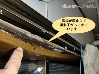 岸和田市のキッチンの窓枠が腐食して垂れ下がってきています