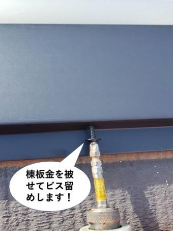 岸和田市の棟に棟板金を被せてビス留めします