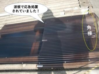 和泉市のガレージの屋根を波板で応急処置されていました