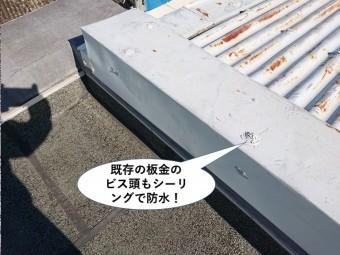 泉佐野市の既存の板金のビス頭もシーリングで防水