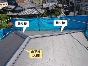 熊取町の水平棟と降り棟の参考写真