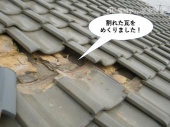 泉佐野市の割れた瓦をめくりました